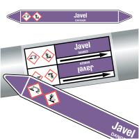 """Marqueurs de tuyauteries CLP """"Javel"""" (Acides et bases)"""