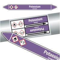 """Marqueurs de tuyauteries CLP """"Potassium"""" (Acides et bases)"""