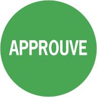 """Pastilles adhésives permanentes à texte """"Approuvé"""""""