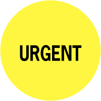 """Pastilles informatives avec adhésif permanent """"Urgent"""""""