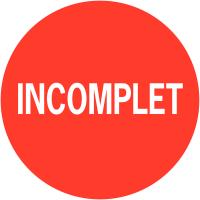 """Etiquettes de colisage avec adhésif permanent """"Incomplet"""""""