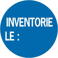 """Pastilles d'inventaire avec adhésif permanent """"Inventorié le :"""""""