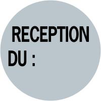 """Pastilles d'inventaire avec adhésif permanent """"Réception du :"""""""