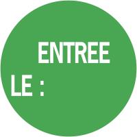 """Pastilles d'inventaire avec adhésif permanent """"Entrée le :"""""""