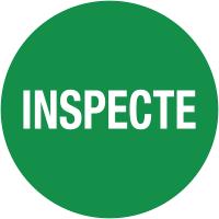 """Pastilles d'inspection avec adhésif enlevable """"Inspecté"""""""