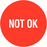 """Pastilles d'inspection avec adhésif enlevable """"Not OK"""""""