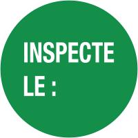 """Pastilles d'inspection avec adhésif enlevable """"Inspecté le :"""""""
