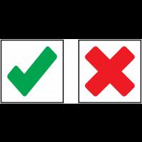 """Autocollants avec symbole """"Croix - Coche"""""""
