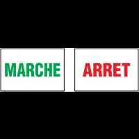 Autocollants avec texte MARCHE - ARRET