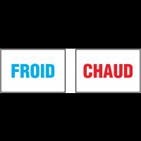 Autocollants avec texte FROID - CHAUD