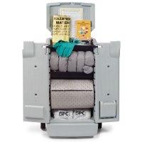 Kit absorbant pour liquides industriels en conteneur et chariot