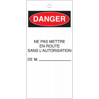 Etiquettes de consignation avec mention de danger