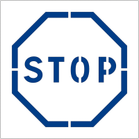"""Pochoir en polypropylène pour marquage au sol et mural """"Stop"""""""