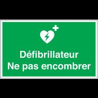 Marquage au sol avec texte et pictogramme - Défibrillateur Ne pas encombrer - E010