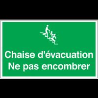 Marquage au sol avec texte et pictogramme - Chaise d'évacuation Ne pas encombrer - E060