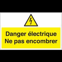 Marquage au sol avec texte et pictogramme - Danger éléctrique - W012