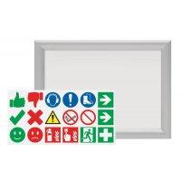 Cadre d'affichage avec planche de stickers
