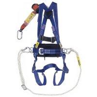 Kit anti-chute mains libres, harnais, longe rétractable, corde et mousquetons
