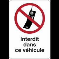 """Etiquette pour véhicules """"Interdiction d'activer des téléphones mobiles dans ce véhicule"""""""