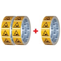 Lot de 3 rouleaux de pictogrammmes ISO 7010 Ecrasement des mains - W024 (2+1 gratuit)