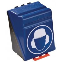 """Boîtes de rangement standards pour EPI avec pictogramme """"Casque de protection et serre-tête antibruit obligatoires"""""""