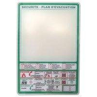 Support en plexiglas pour plan d'évacuation avec consignes incendie