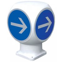 """Balise giratoire 4 faces """"Obligation de tourner à droite avant le panneau"""""""