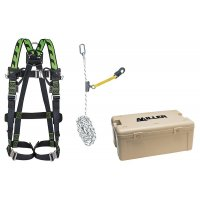 Kit anti-chute toiture 15 m, harnais, longe, coulisseau et coffret de transport
