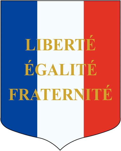 Blason avec devise et drapeaux français et européen pour écoles - Seton