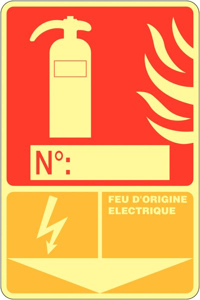 Panneau photoluminescent à compléter Extincteur d'incendie - Feu d'origine électrique