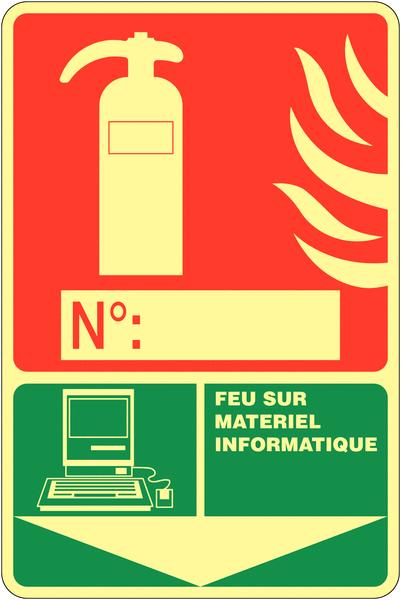 Panneau photoluminescent à compléter Extincteur d'incendie - Feu sur matériel informatique