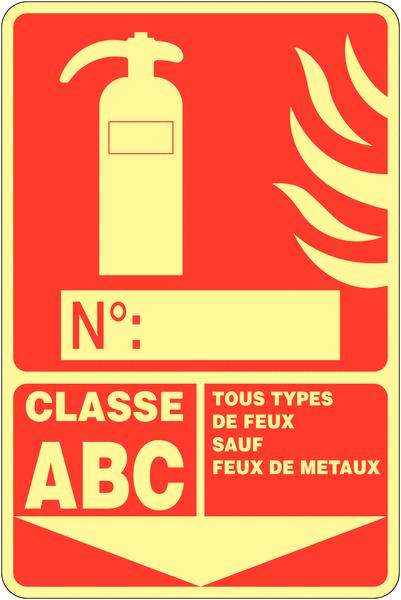 Panneau photoluminescent à compléter Extincteur d'incendie - Classe ABC