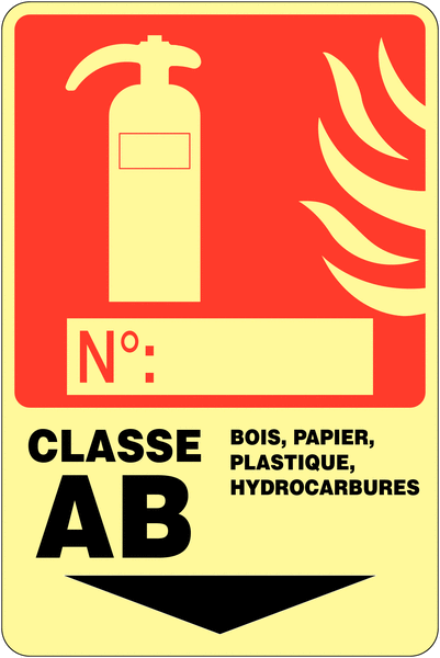 Panneau photoluminescent à compléter Extincteur d'incendie - Classe AB