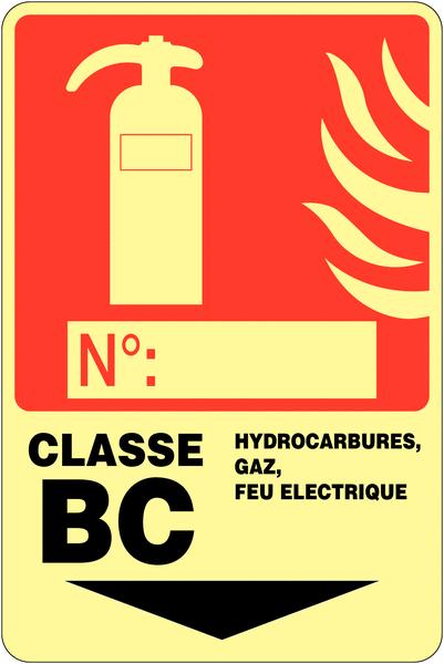 Panneau photoluminescent à compléter Extincteur d'incendie - Classe BC
