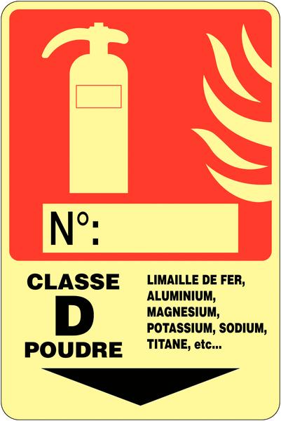 Panneau photoluminescent à compléter Extincteur d'incendie - Classe D