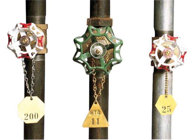 Marqueurs de vannes personnalisables en ligne - Plaquettes pour tuyauteries et jetons de vannes avec numérotation