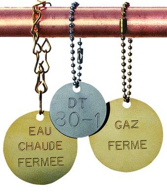Marqueurs de vannes gravés personnalisables en ligne - Plaquettes pour tuyauteries et jetons de vannes avec numérotation