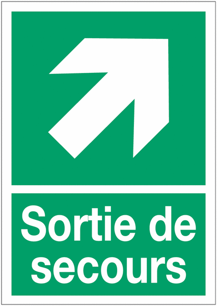 Panneaux d'évacuation A4 et A3 Flèche diagonale en haut à droite