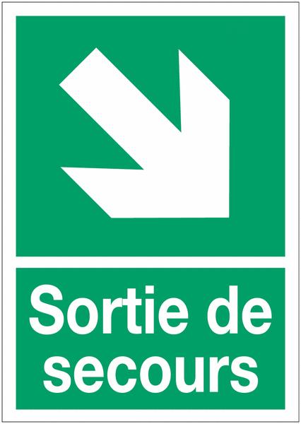 Panneaux d'évacuation A4 Flèche diagonale en bas à droite