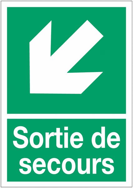 Panneaux d'évacuation A4 Flèche diagonale en bas à gauche