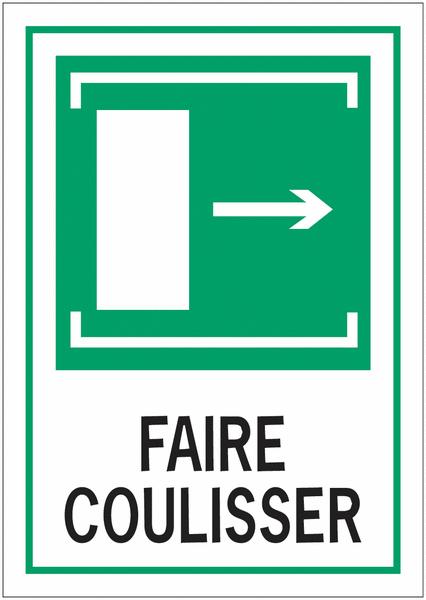 Panneaux d'évacuation A4 Faire coulisser, flèche à droite