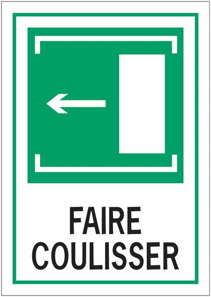 Panneaux d'évacuation A4 Faire coulisser, flèche à gauche