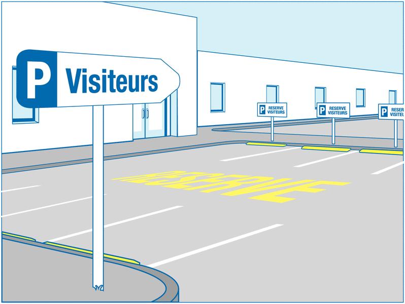 Panneau de parking en aluminium Places de parking - Réservé visiteurs - Panneaux de parking bleus