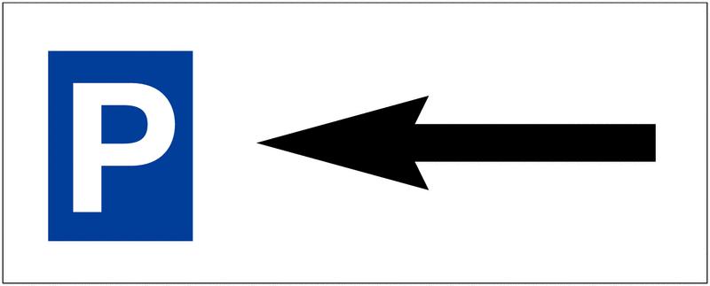 Panneau de parking en aluminium Places de parking - Flèche à gauche