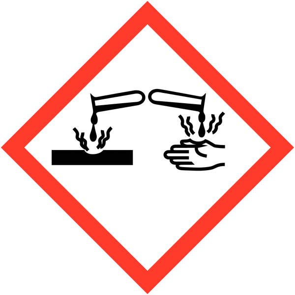 Lot de 4 planches de pictogrammes CLP Matières corrosives (3+1 gratuite) - Seton