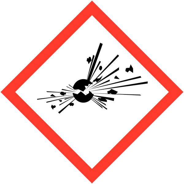 Lot de 4 planches de pictogrammes CLP Matières explosibles (3+1 gratuite) - Seton