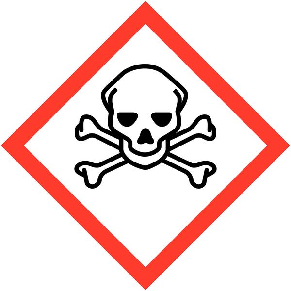 Lot de 4  planches de pictogrammes CLP Toxicité aiguë catégorie 1, 2, 3 (3+1 gratuite) - Seton
