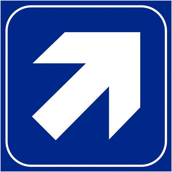 Plaques signalétiques en relief tactile Flèche en haut à droite