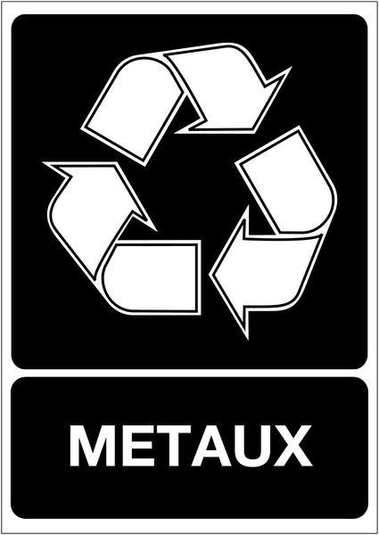 Panneau A4 en polyester laminé Tri sélectif des déchets - Métaux