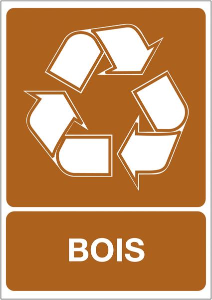 Panneau A4 en polyester laminé Tri sélectif des déchets - Bois